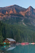 Image of Fairview Mountain above Lake Louise at sunset
