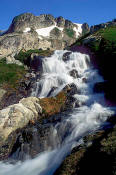 Image of waterfall, White Rock Lakes, North Cascades
