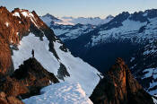 Image of Climber at Cache Col, North Cascades