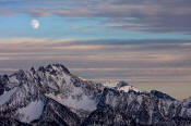 Image of Moon over Silverstar Mountain, North Cascades