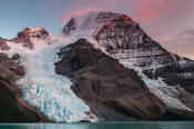 Image of Mount Robson and pink skies above Berg Lake