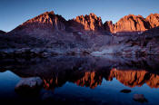 Palisades reflection in Dusy Basin at sunset
