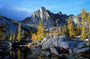 Image of Prusik Peak above Leprechaun Lake, Enchantment Lakes, fall larch