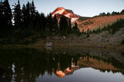 Image of Mount Hood reflected in Dollar Lake