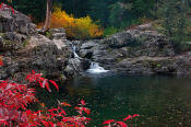 Image of waterfall in Box Canyon in fall, Alpine Lakes