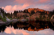 Image of Alta Mountain reflection in Rampart Lakes, Alpine Lakes