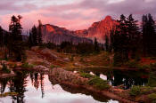 Image of Evening Light on Hi Box Mountain, Rampart Lakes