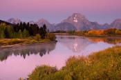 Image of Mount Moran and pink skies reflected at Oxbow Bend, autumn, Grand Teton National Park