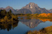 Image of Mount Moran reflection at Oxbow Bend in autumn, Grand Teton National Park