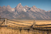 Image of Grand Teton above corral fence, Grand Teton National Park
