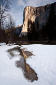 Image of El Capitan reflected in melting snow.